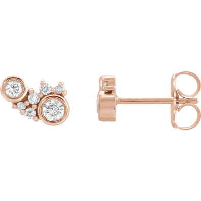 14K 1/4 CTW Diamond Scattered Stud Earrings