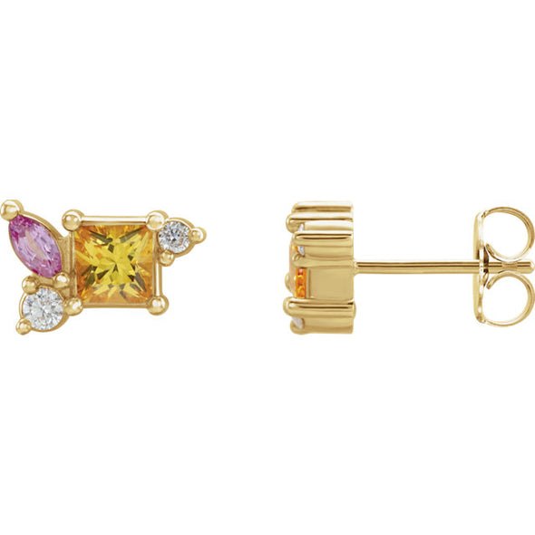 14K Yellow Pink Sapphire, Yellow Sapphire & 1/8 CTW Diamond Earrings