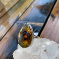 Amber Teardrop Ring Sz9