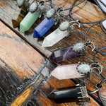Crystal Point Necklace with Labradorite