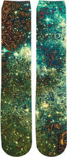 Abstract Green Space Knee High Socks