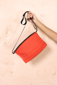 Pleated Zipped Bag Orange