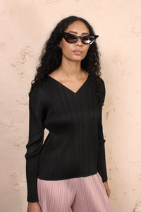 V Neck Top Black