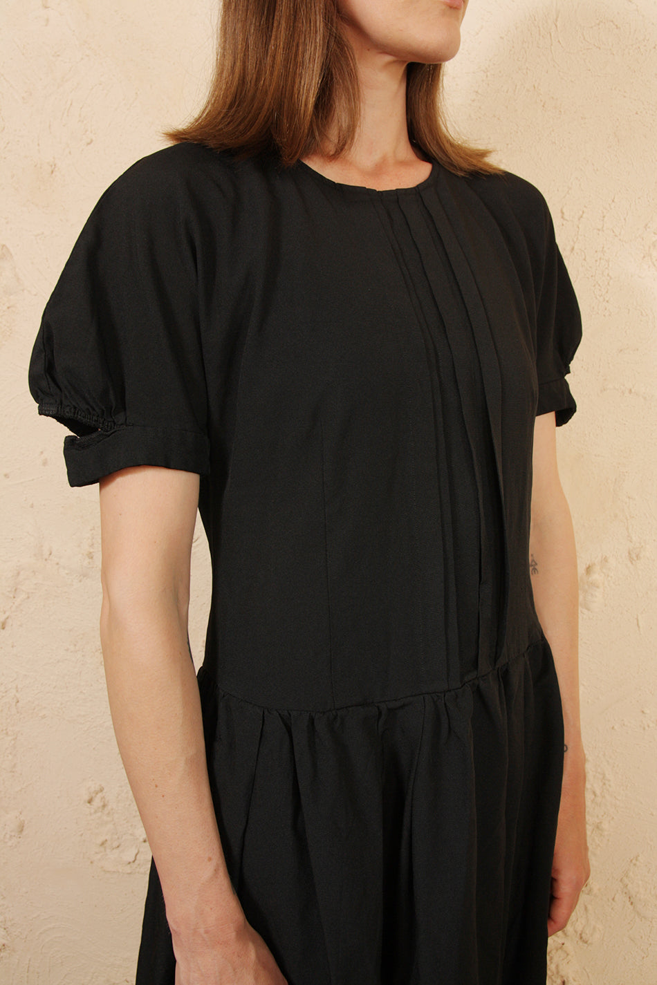 Puff Sleeve Black Dress