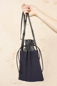 Pleated Drawstring Bag Navy