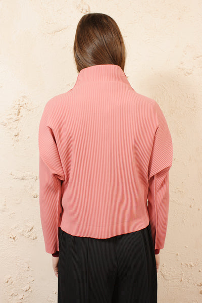 Soft Pleated Cardigan Pink