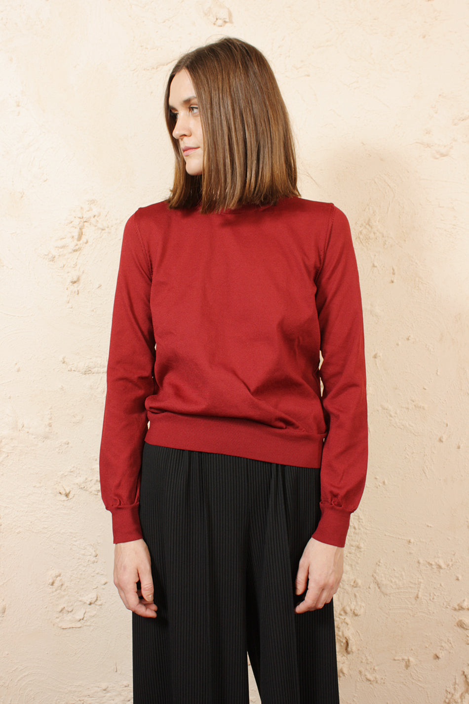 Burgundy Crew Sweater