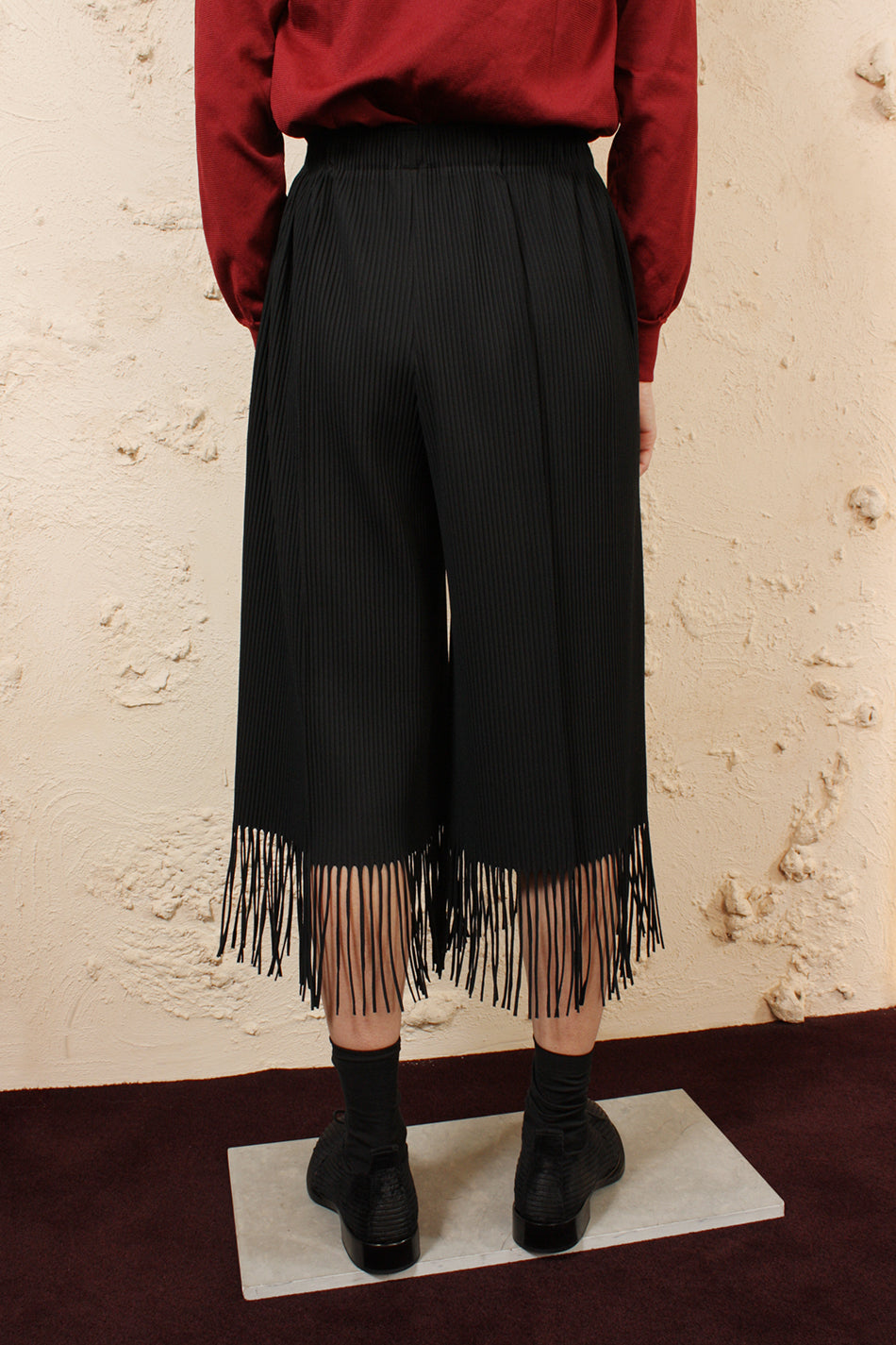 Soft Pleated Fringed Trouser
