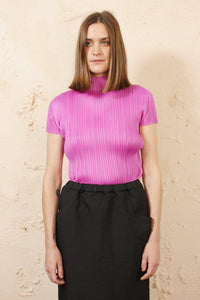 High Neck Pleated Tee