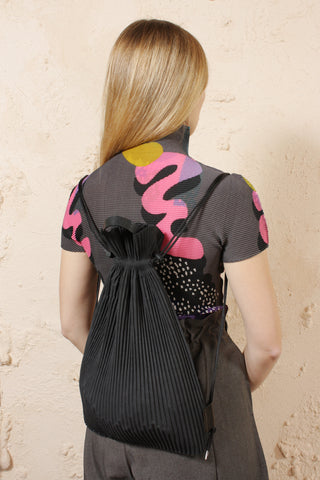 Pleated Drawstring Knapsack