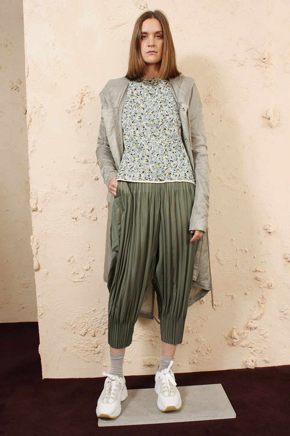 Fluffy Pleated Pants Khaki