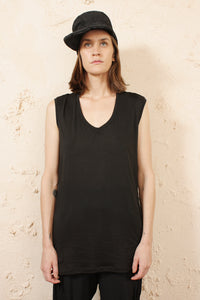 Contrast Fabric Draped Tank
