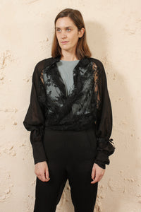 Floral Lace Shirt Black