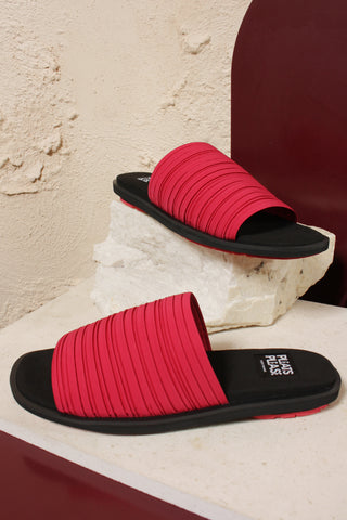 Pink Pleated Slides