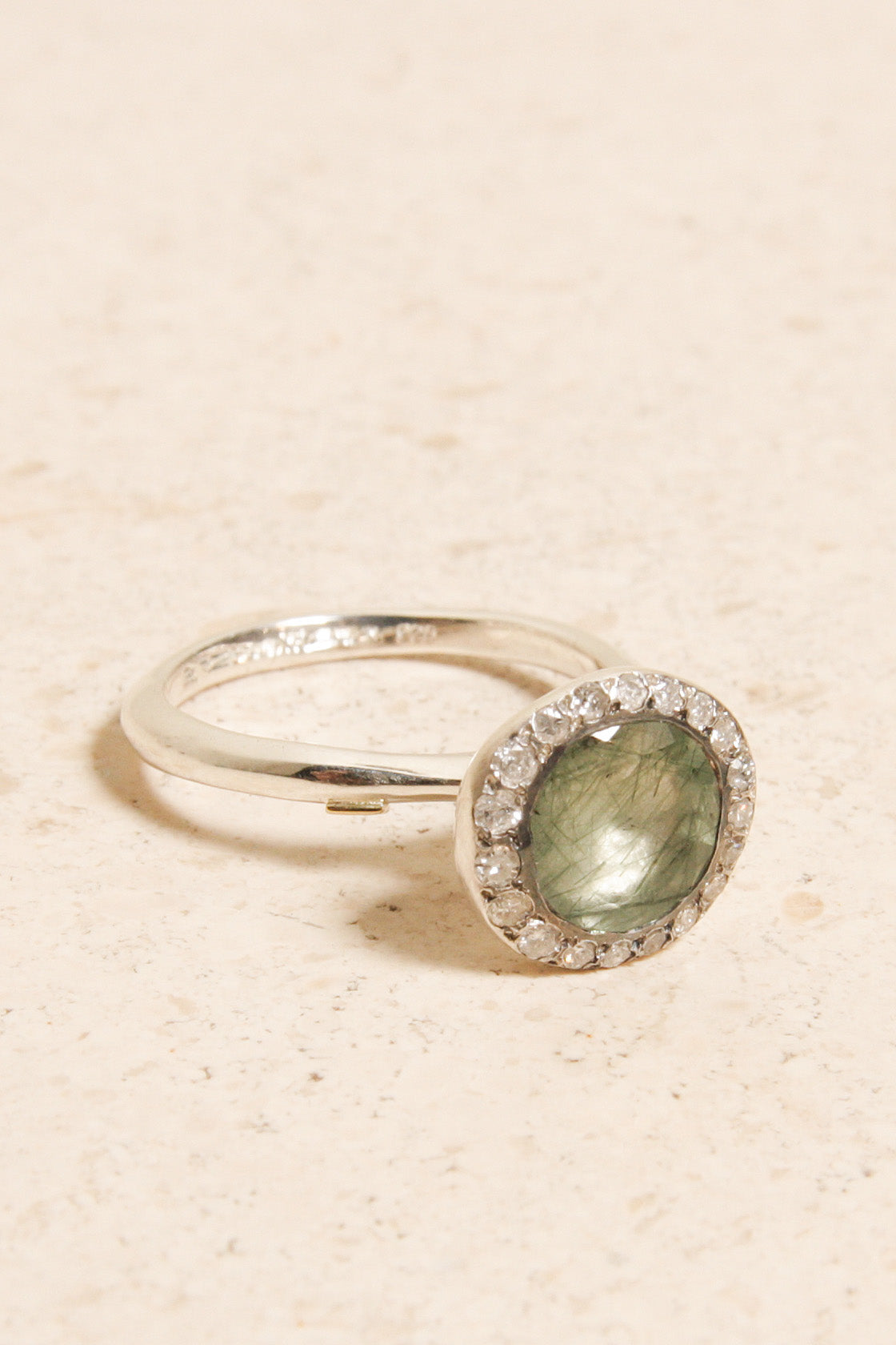 Beril Green Rutilated Quartz Ring