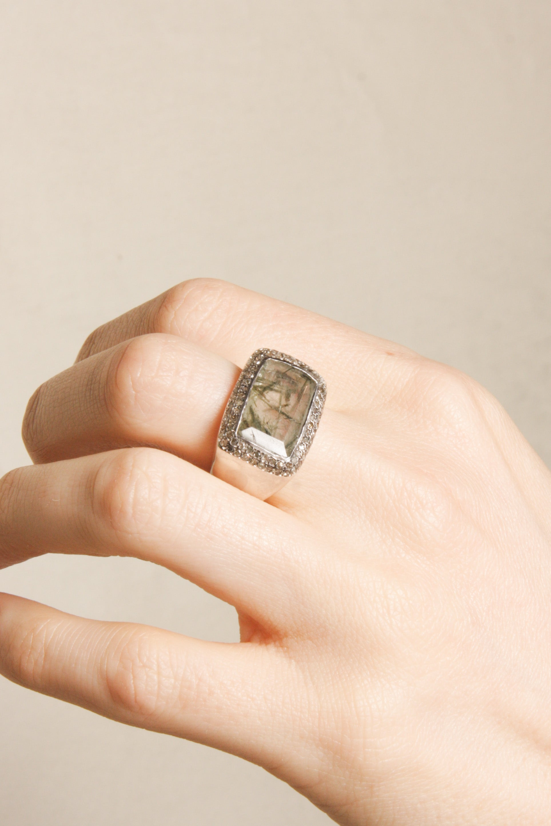 Lussi Green Rutilated Quartz Ring