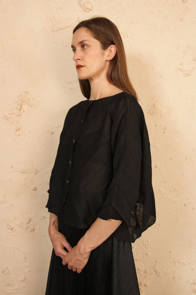 Ornament Crepe Cardigan Black