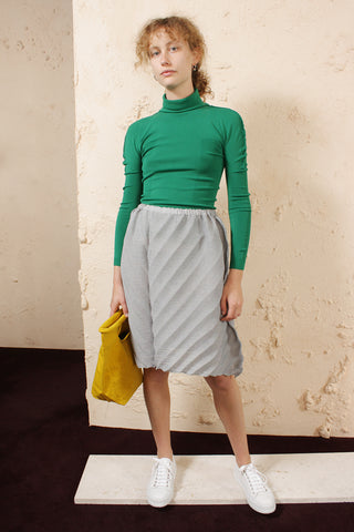 Fitted Turtleneck Top Green