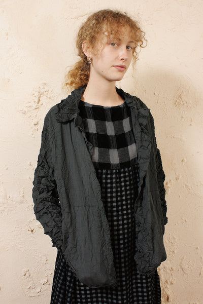 Crinkled Cardigan Black