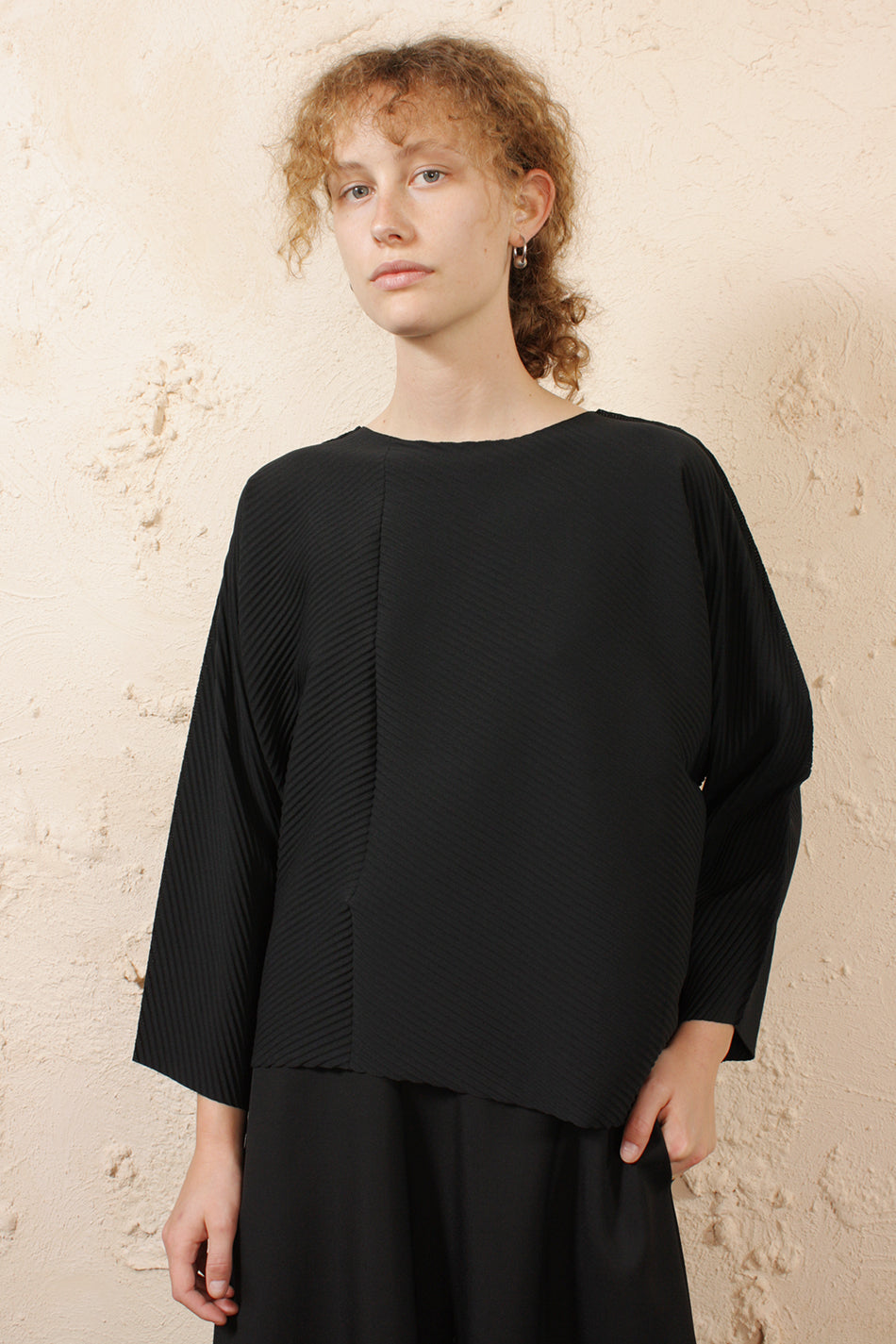 Angular Soft Pleated Top