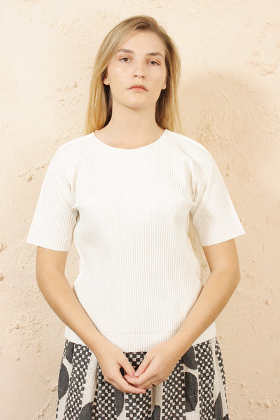 Soft Pleated White Tee