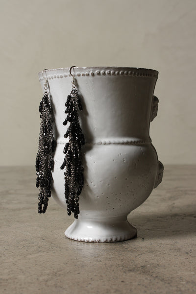 Black Bead Chain Earrings