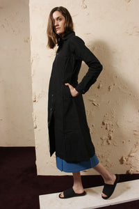 Wax Cotton Dress Black