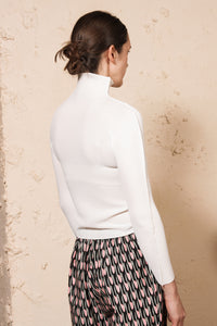 Micropleated Long Sleeve White
