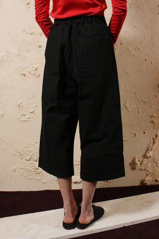 Wax Cotton Pants Black