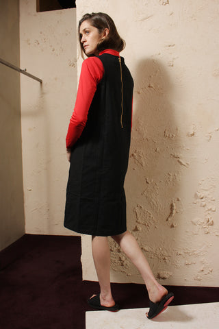 Wax Cotton Zip Dress Black