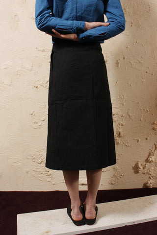 Wax Cotton Skirt Black