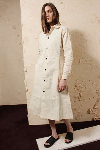 Wax Cotton Dress Unbleached