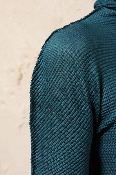 Relaxed Micro Pleat Sweater Blue