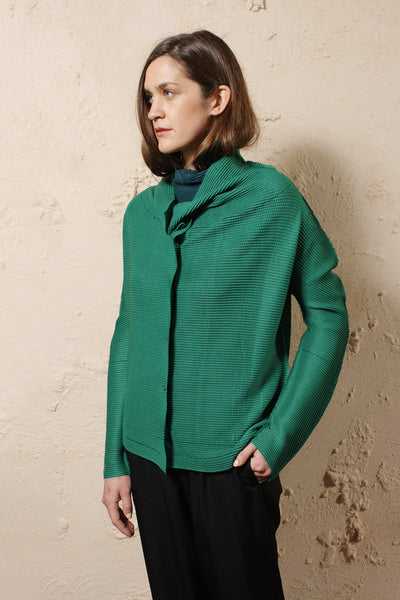 Relaxed Micro Pleat Cardigan Green