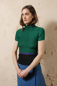 Colourblock Micro Pleat Top