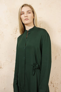 DEVLA GREEN DRESS WITH TWIST