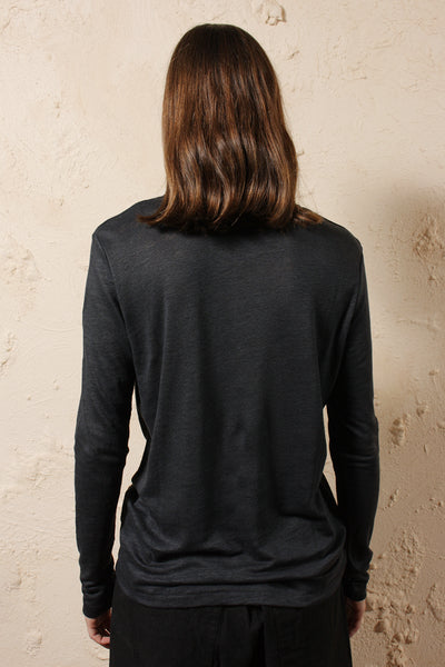 Linen Long Sleeve Tee Black