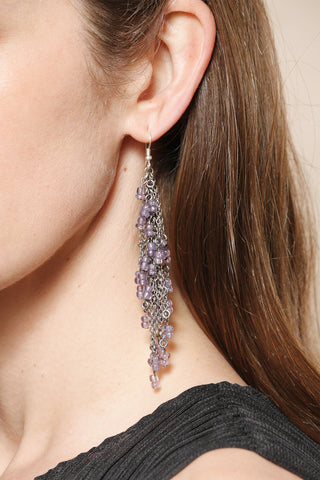 Purple Glass Bead Chain Earrings