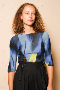 Tulip Blue Micropleated Top