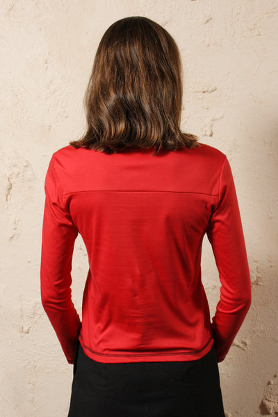 Long Sleeve High Neck Red