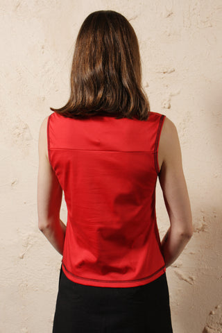Sleeveless High Neck Red