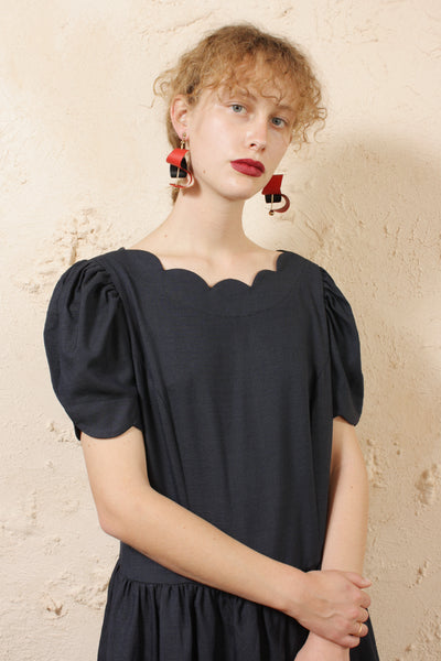 Puff Sleeve Blue Dress