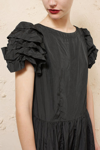 Shiny Puff Sleeve Dress