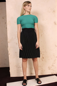 Micropleat Short Sleeve Green