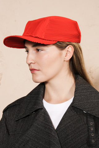 Pleated Cap Red