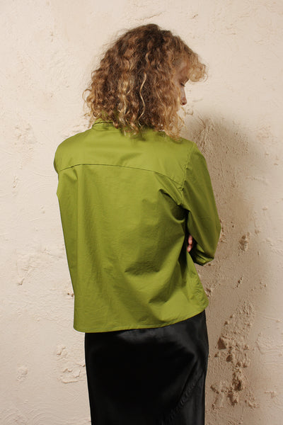 Cotton Button Through Shirt Green