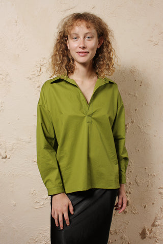 Cotton Half Open Shirt Green