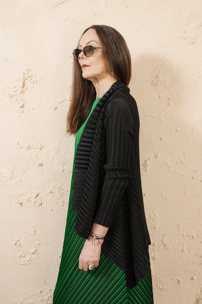Draped Black Cardigan