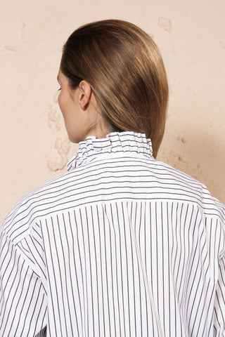 Frill Collar Striped Shirt