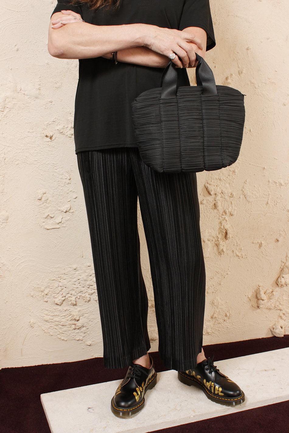 Pleated Carrybag Small Black